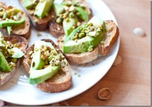 Avocado Pistachio Crostini